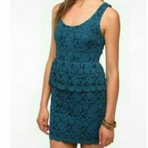 URBAN OUTFITTERS Open Back Blue Lace Mini Dress