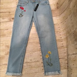 Denim - Absolutely adorable flowered tattered jeans NWT 12