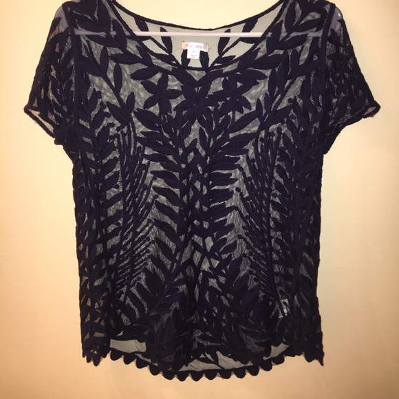 30 off xhilaration tops navy blue floral embroidered for Embroidered mesh t shirt
