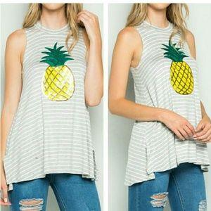 October Love Tops - Sequin Pineapple Tank