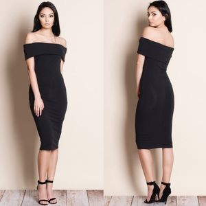 Off Shoulder Midi Dress - BLACK