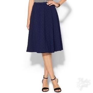 JOA Los Angeles Navy Polka Dot Midi Skirt