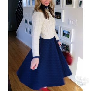 J.O.A Skirts - JOA Los Angeles Navy Polka Dot Midi Skirt