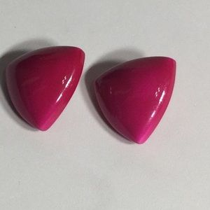Vintage Hot Pink Triangle Plastic Earrings