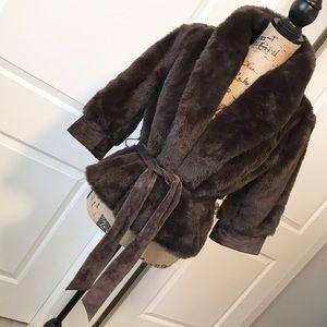 ARDEN B womens dark brown faux fur coat w/ leather