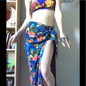 💫SILK Tropical Hawaiian Hibiscus Sarong Skirt
