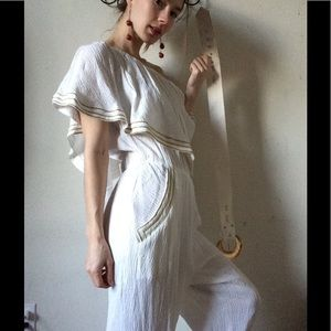 Vintage Pants - Vintage Americana Pantsuit Tiffani Kim All White