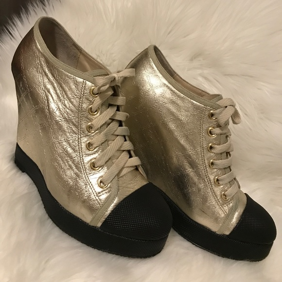 cff5008df22b L.A.M.B. Shoes - L.A.M.B. Gwen Stefani gold wedge lace up sneakers