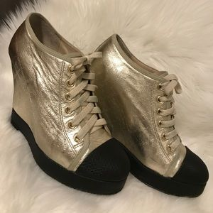 L.A.M.B. Shoes - L.A.M.B. Gwen Stefani gold wedge lace up sneakers