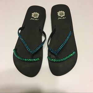 yellow box Shoes - Jewels studded flip flops