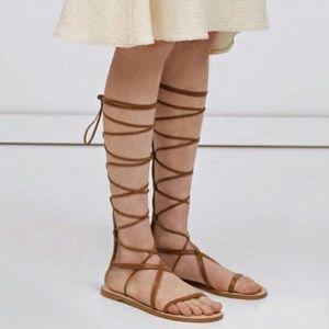 NWOT Zara Tan Leather Gladiator Sandals Size 8