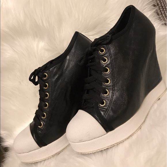 ca8a0ddc30ad L.A.M.B. Shoes - L.A.M.B. Gwen Stefani black lace up wedge sneakers