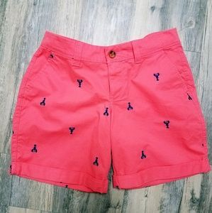 Pants - Coral color tailored shorts with embroidered print