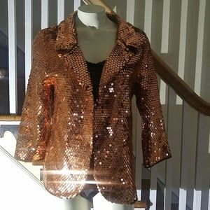 Vintage Golden Copper Sequin Sweater Jacket