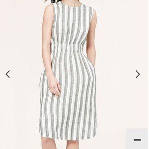 LOFT Dresses & Skirts - LOFT Stripe Linen Dress in 14 TALL