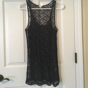 J.Crew Factory Black Lace Overlay Stitched Tank