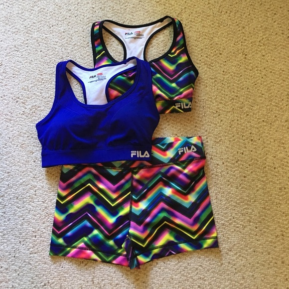 Fila other set of two sports bras and running shorts for Do gucci shirts run small
