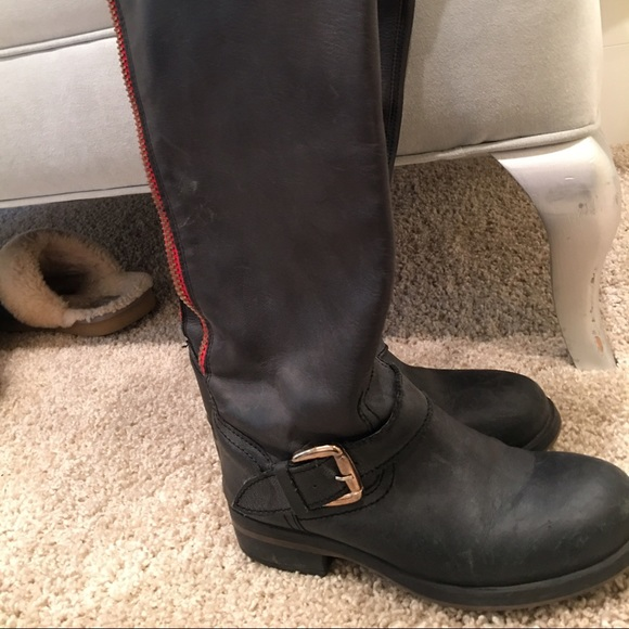 Subir Finito Explícitamente  Steve Madden Shoes | Riding Boots With A Red Zipper | Poshmark