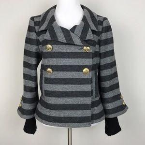 Smythe Jackets & Blazers - [Smythe] Striped Wool Jacket Knit Cuffs Military