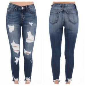 KanCan  Denim - Distressed Skinny Ankle Jeans