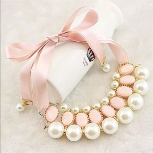 Pink ribbon and Pearl statement necklace NEW