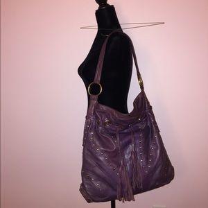 Purple leather Bulga bag. Shoulder bag.