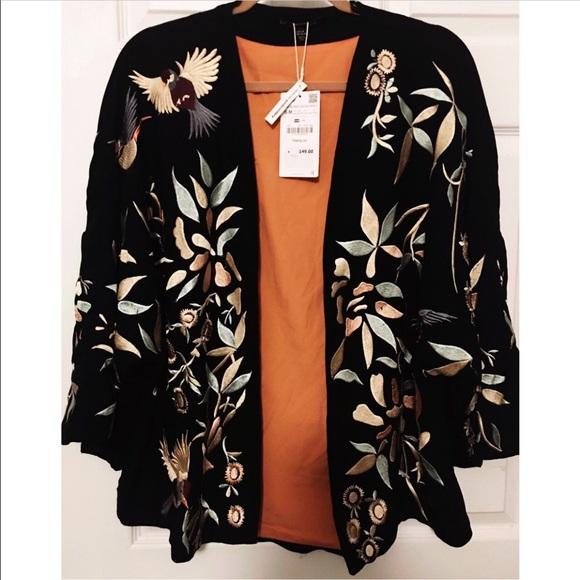Zara Black/Gold Reversible Satin Embroidered Oriental Floral Bird Bomber  Jacket | eBay