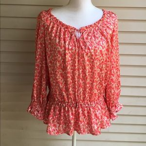 Cynthia Steffe Tops - Cynthia Steffe Coral Patterned Blouse