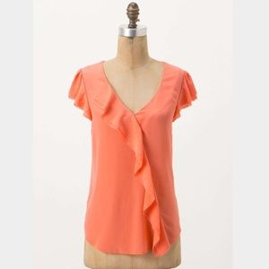 Anthropologie Maeve Coral Ruffle Silk Blouse