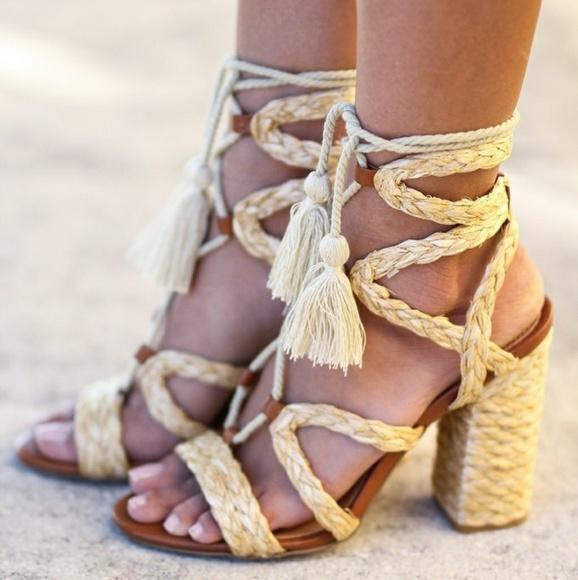 Mia Gigi lace up Natural Raffia heeled sandals 6