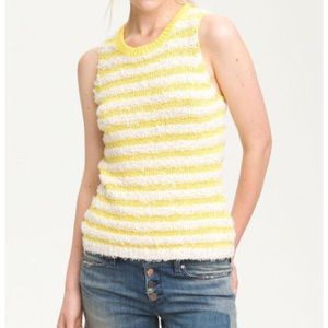 Aiko Tops - AIKO Kelli Yellow Fringe Striped Sleeveless Top