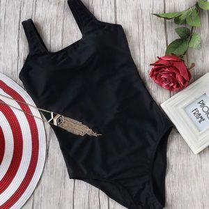 Black Low Back Swim Suit