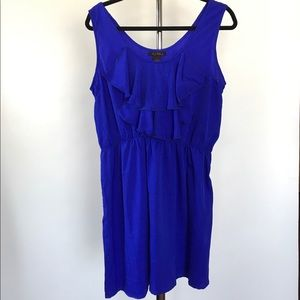 Blue Dress Ruffle Detailing