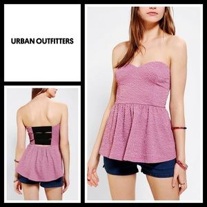 Urban Outfitters Tops - UO Pins & Needles Strapless ElasticBack Peplum Top