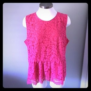 NWT JCrew Floral Lace Peplum Sleeveless Top Pink