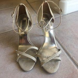 Badgley Mischka Silver Strappy Heels