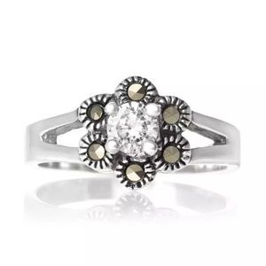 Jewelry - 925 Sterling silver marcasite cubic zirconia white
