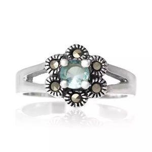 Jewelry - 925 Sterling silver marcasite cubic zirconia Aqua