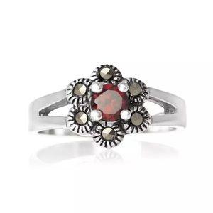 Jewelry - 925 Sterling silver marcasite cubiczirconia garnet
