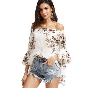 🌟Last 🆕Lucy Floral Sleeve Off The Shoulder Top