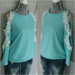 12 Pm By Mon Ami Tops - NEW Eyelet Lace Cold Shoulders