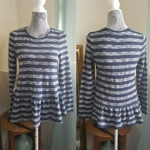 Anthropologie striped long sleeve ruffle top