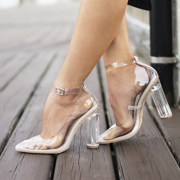 Style Link Miami Clear Closed Toe Ankle Strap Block High