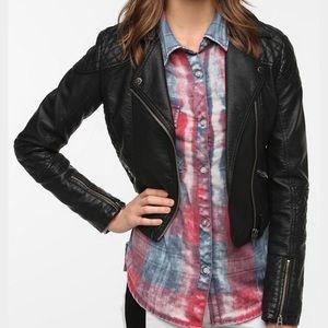 Members Only Vegan Leather Moto Jacket