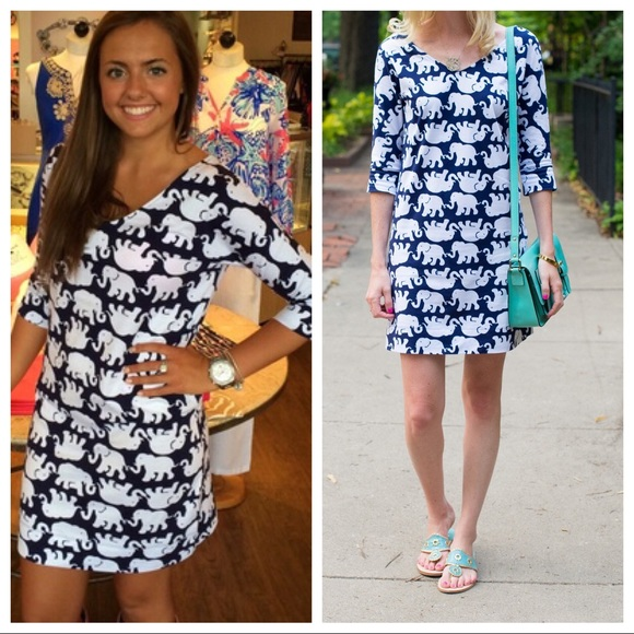 79bf8697 LILLY PULITZER ELIZA TUSK IN SUN DRESS NAVY 🐘☀️