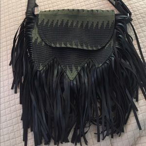 Handbags - black and green cross body bag