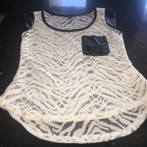 Lace Shirt with leather-like detail