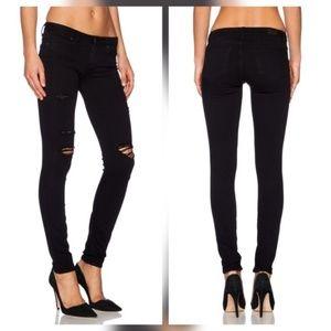 Paige Jeans Denim - Paige Verdugo Ankle Black Destructed Skinny Jeans