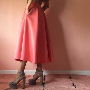 Asos Coral Neoprene Midi Skirt