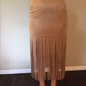 Dresses & Skirts - suede fringe skirt-NEVER WORN